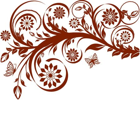 butterfly isolated: vector illustration of a floral background with butterflies.