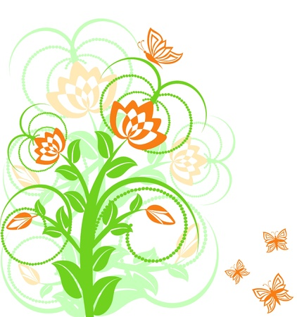 vector illustration of a floral background with butterflies. Stock Vector - 10302042