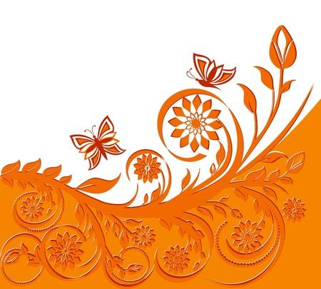 오렌지: 나비와 꽃 배경 벡터 일러스트 레이 션입니다.