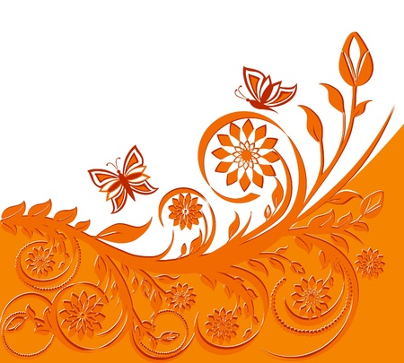 orange swirl: vector illustration of a floral background with butterflies.