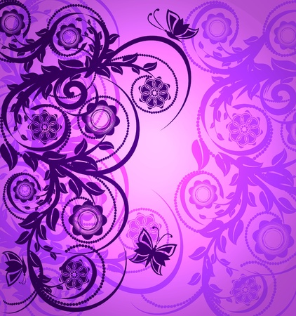 vector illustration of a purple floral ornament with butterfly Vettoriali