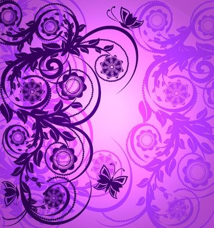 morado: ilustraci�n vectorial de un adorno floral de color morado con la mariposa Vectores