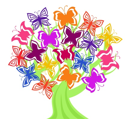 butterfly isolated: Vector illustration of a tree with butterflies