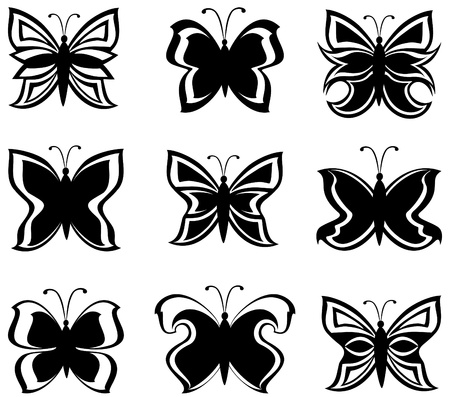 Vector illustration of a collection black and white butterflies  isolated on white Ilustração