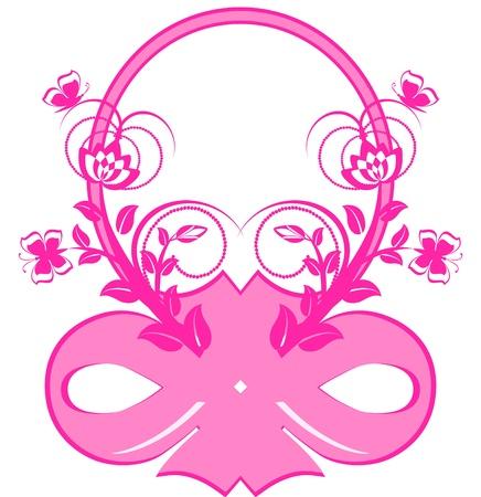 mo�os rosas: ilustraci�n vectorial de marco con cintas de color rosas y ornamento