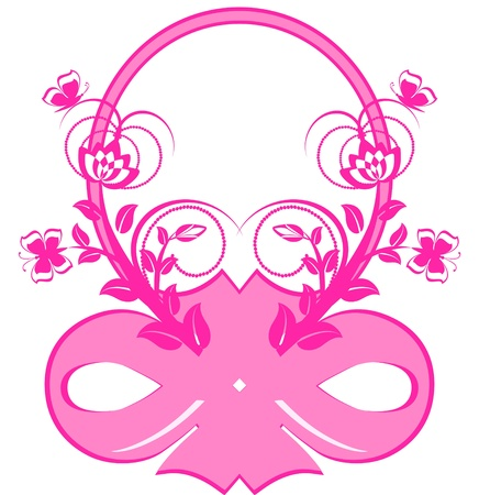 pink ribbons: vector illustration of frame with pink ribbons and ornament