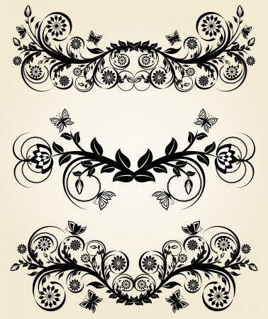 ヴィンテージの黒花の罫線のセットのベクトル イラスト