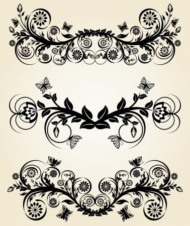 Vector illustration of a set of vintage black floral borders Vectores
