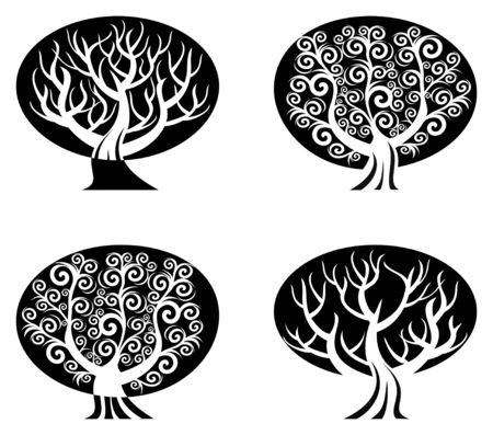 vector illustration of a set of black and white trees  isolated on white background Vector