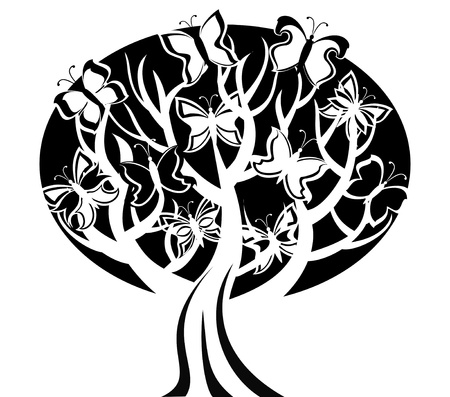 tree silhouettes: Vector illustration of a tree with butterflies