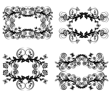 Vector illustration of a set of  black floral frames isolated on white background