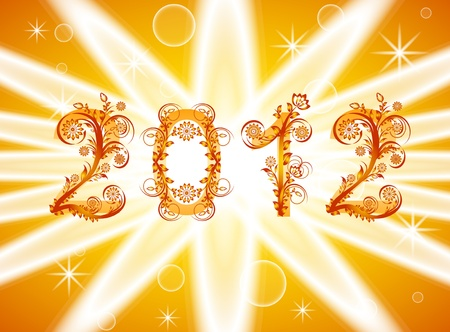 Illustration of a 2012 new year background with floral ornament Vector