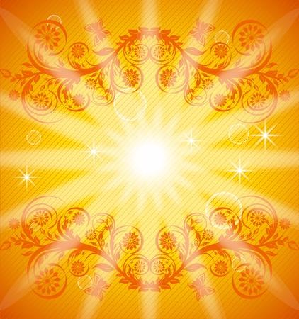오렌지 floralornament과 나비의 그림. EPS10