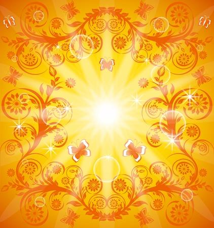 Illustratie van een oranje florale versiering met vlinder. Eps10