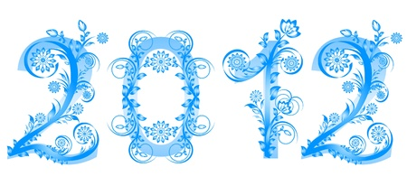 illustration of the 2012 new year numbers made with floral ornament Illustration