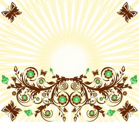 illustration of a floral ornament background with sun and  butterflies