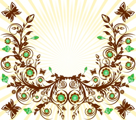 malachite:  illustration of a floral ornament background with sun and  butterflies
