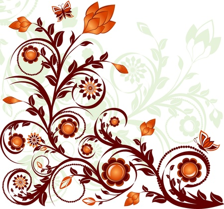 vector illustration of a floral ornament with butterflies Çizim