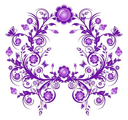 紫の花の飾り枠のベクトル イラスト