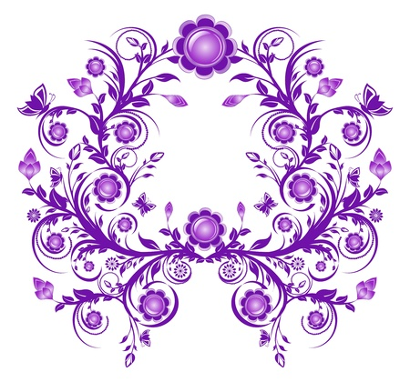 Vector illustration of a violet floral ornament frame  Çizim
