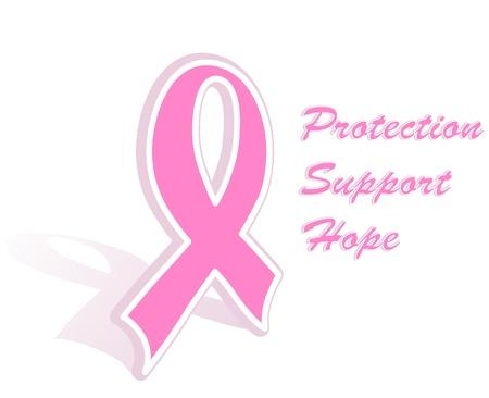 Illustration of a breast cancer pink ribbon Illustration