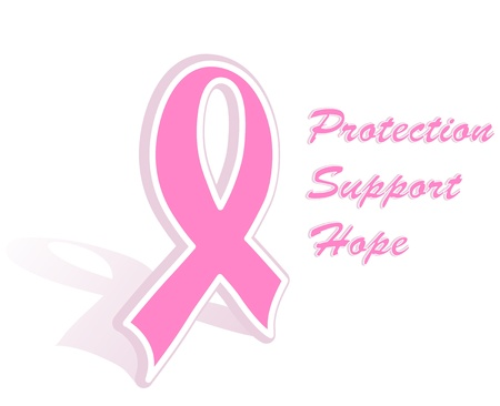 Illustration of a breast cancer pink ribbon Illustration
