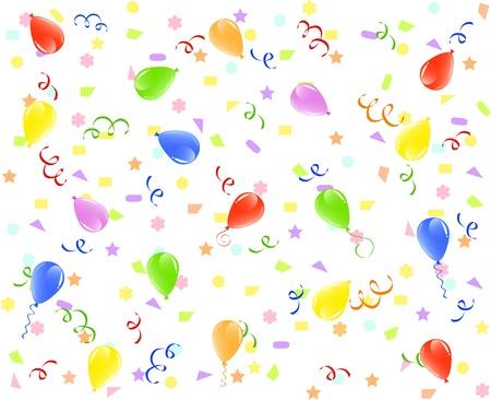 illustratie van een verjaardag achtergrond met ballonnen, linten en confetti. Stock Illustratie