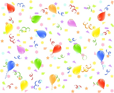 illustration of a birthday background with balloons, ribbons and confetti.