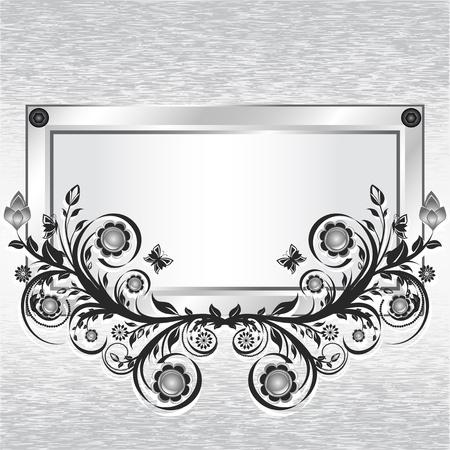 illustratie van een grunge metalen achtergrond met frame en bloem ornament.  Stock Illustratie