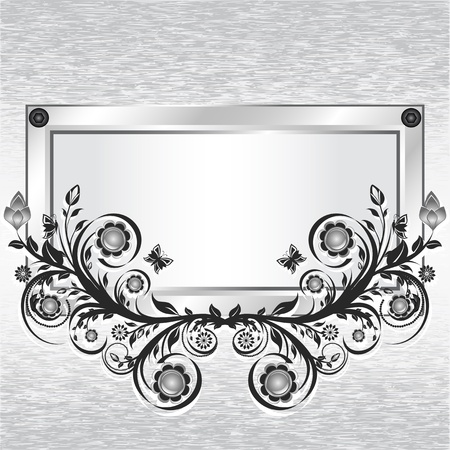 illustration of a grunge metal background with frame and flower ornament.  Vector