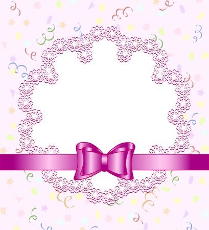 Vector illustratie van een frame van bloem met strik op de verjaardag van thema achtergrond Stock Illustratie