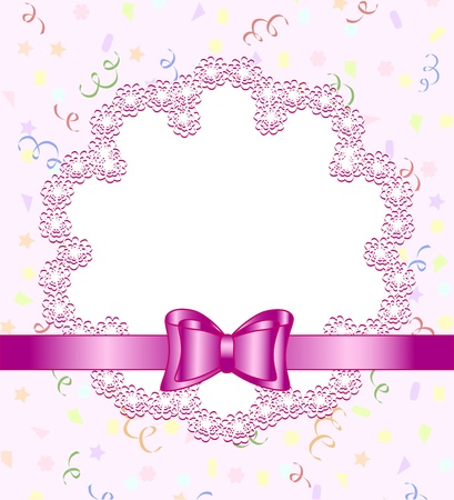 backdrop: Vector illustration of a frame of flower with bow on birthday theme background