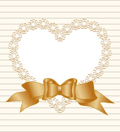 Vector illustration of a frame of heart with bow on striped paper background