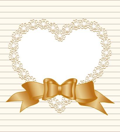 Vector illustratie van een frame van hart met strik op gestreepte papier achtergrond