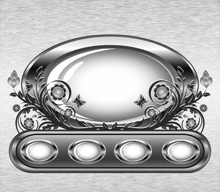 Vector illustration of a grunge metal background with oval frame and flower ornament.  Vector