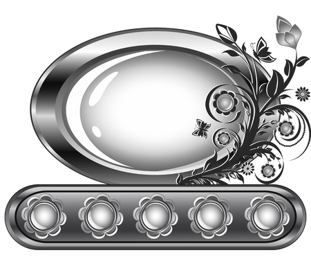 Vector illustration of an oval frame with flower ornament isolared on white background. Vector