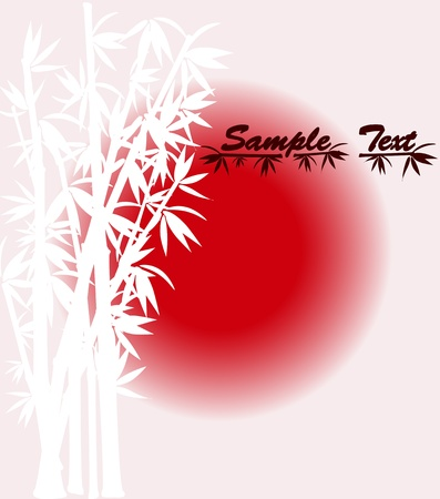 vector illustration of bamboo silhouette  over sun