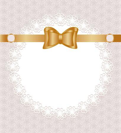 Vector illustratie van een kant servet met strik op bloemmotief achtergrond Stock Illustratie
