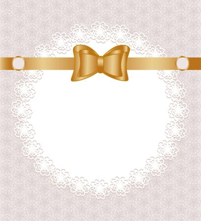 Vector illustration of a lace napkin with bow on floral pattern background