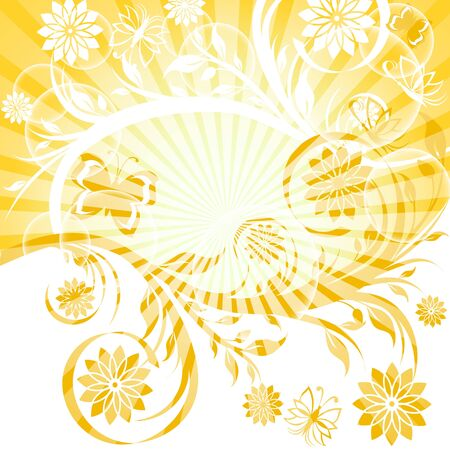 vector illustration of a sunny floral ornament with butterfly. Eps10