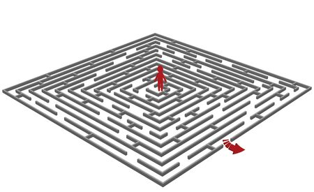 problem solved: Vector illustration of a  labyrinthmaze with a man in center