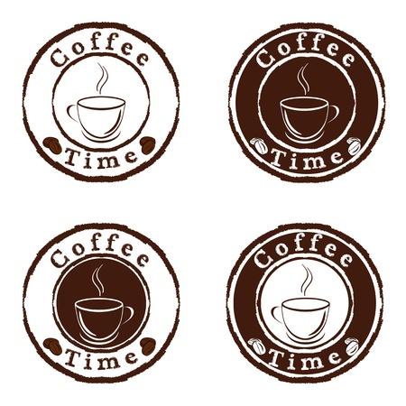 Vector coffee time stamps set  Stock Illustratie