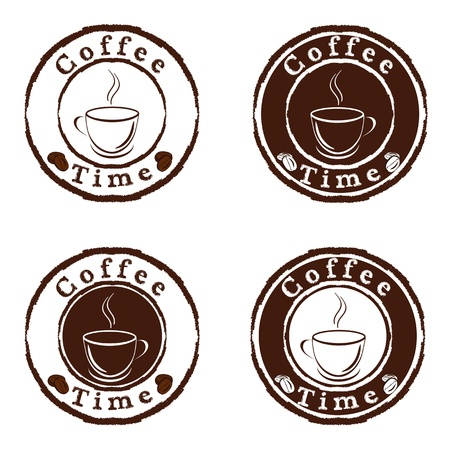 Vector coffee time stamps set  Vectores