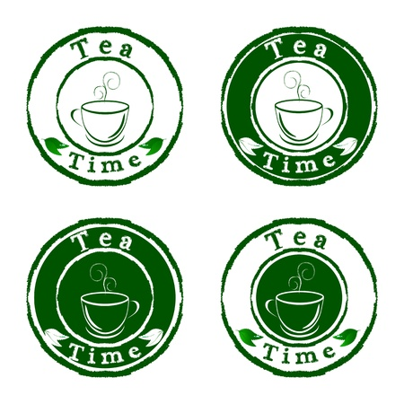 steam of a leaf: Vector tea time stamps set isolated on white background Illustration