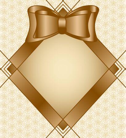 Vector illustratie van een frame met strik op florale achtergrond Stock Illustratie