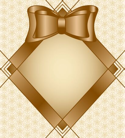Vector illustration of a frame with bow on floral background Vector