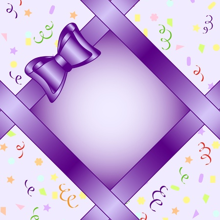 Vector illustration of a frame with bow on birthday theme background