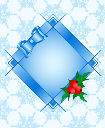Vector illustratie van een frame met Holly plant, rode rijpe bessen, strik op naadloze sneeuwvlokken achtergrond Stock Illustratie