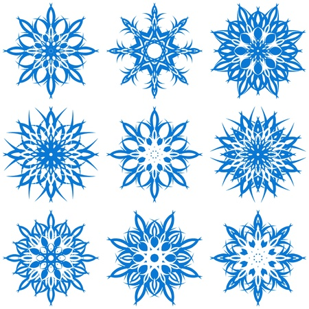 christmas icon: vector illustration of a set of snowflakes Illustration