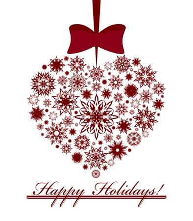 Illustratie van een kerst hart gemaakt met sneeuwvlokken op een witte achtergrond.